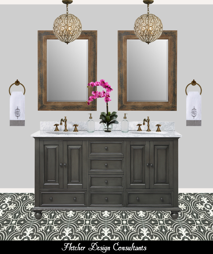 TraditionalBlackWhiteAndGrayBathroom