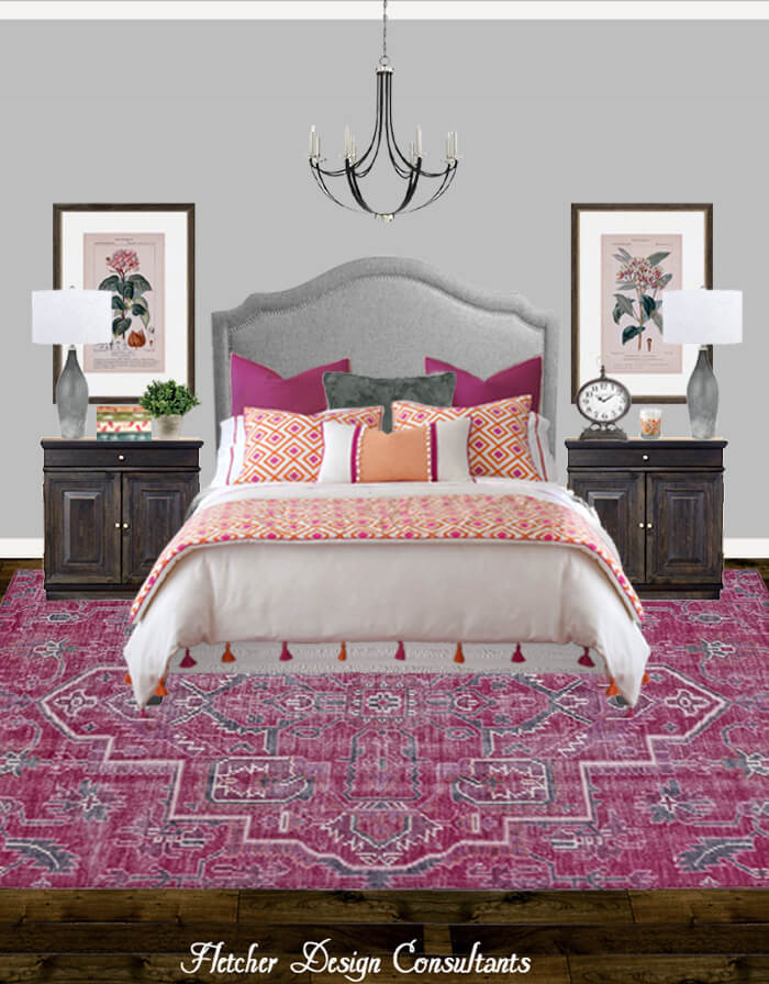 Traditional Pink, Peach, and Gray Bedroom